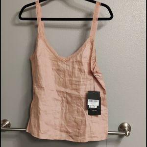 Reformation Pink Linen Women's Lace Camisole Sz M